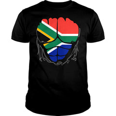 South Africa Flag Ripped Muscles Shirt