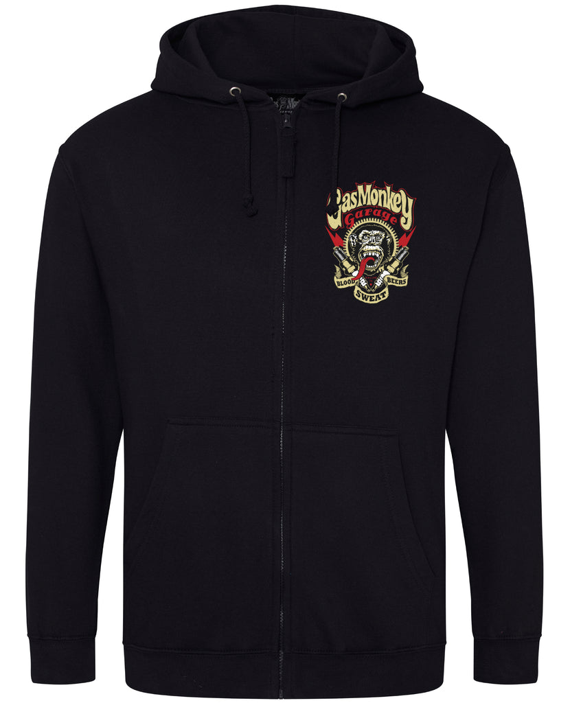 Spark Plugs Zip Gas Monkey Hoodie (Black)