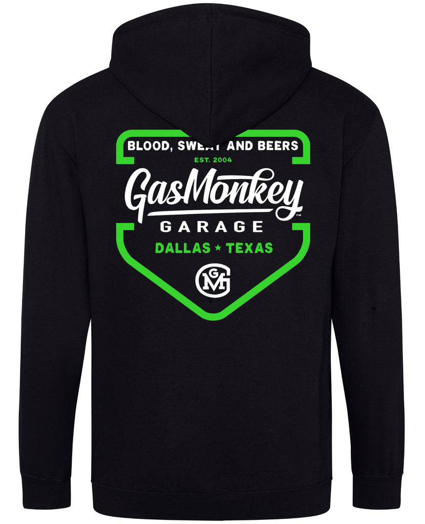 Green Shield Zip Gas Monkey Hoodie (Black)