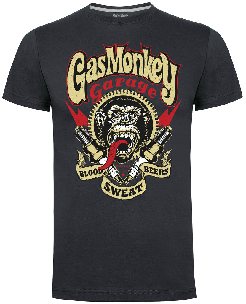 Spark Plugs Gas Monkey T-Shirt (Charcoal)