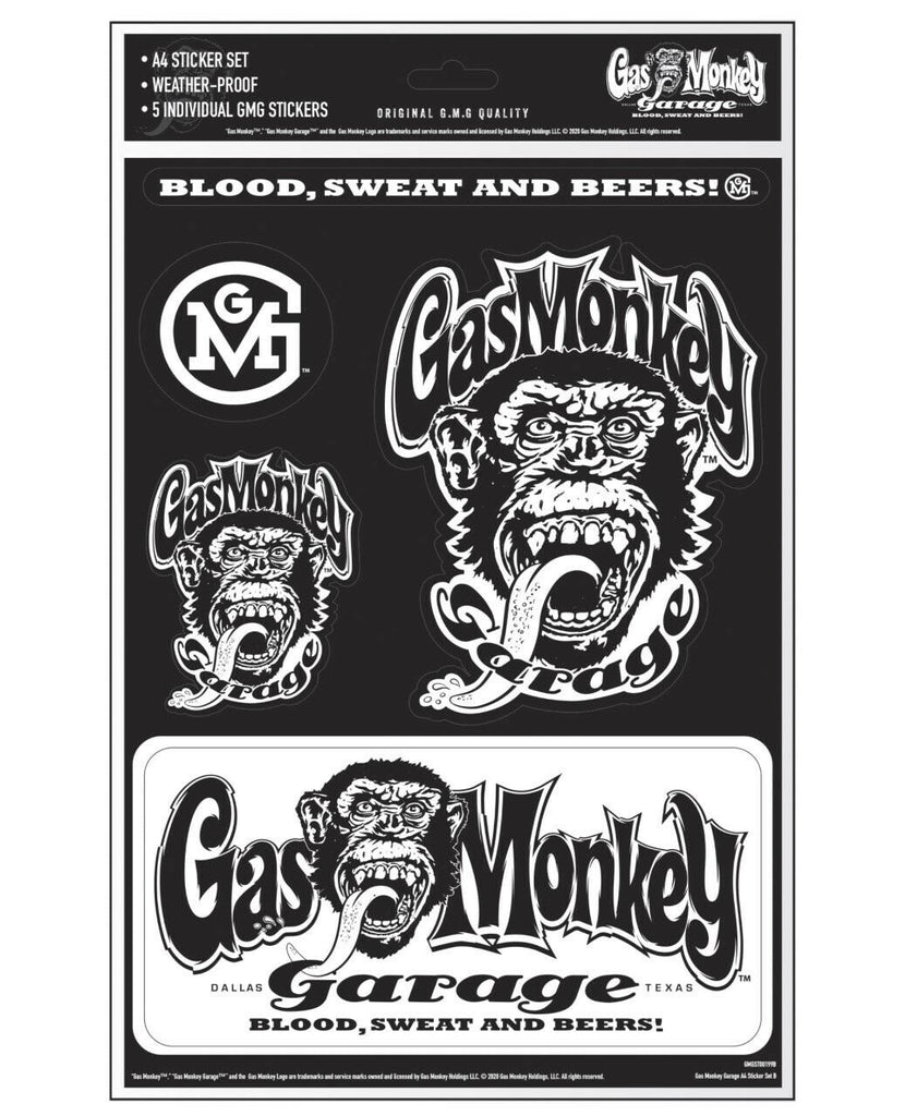 Gas Monkey Garage A4 Set of 5 Stickers