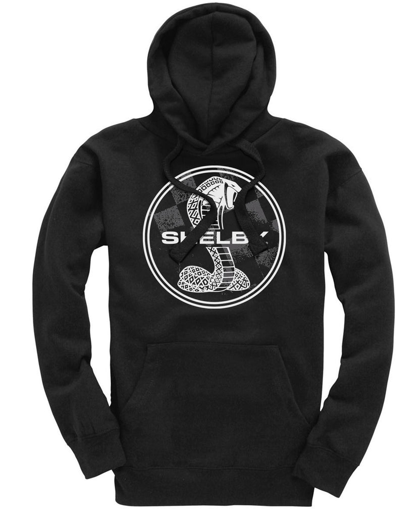 Shelby Super Snake Badge Mens Gents Black Hoodie