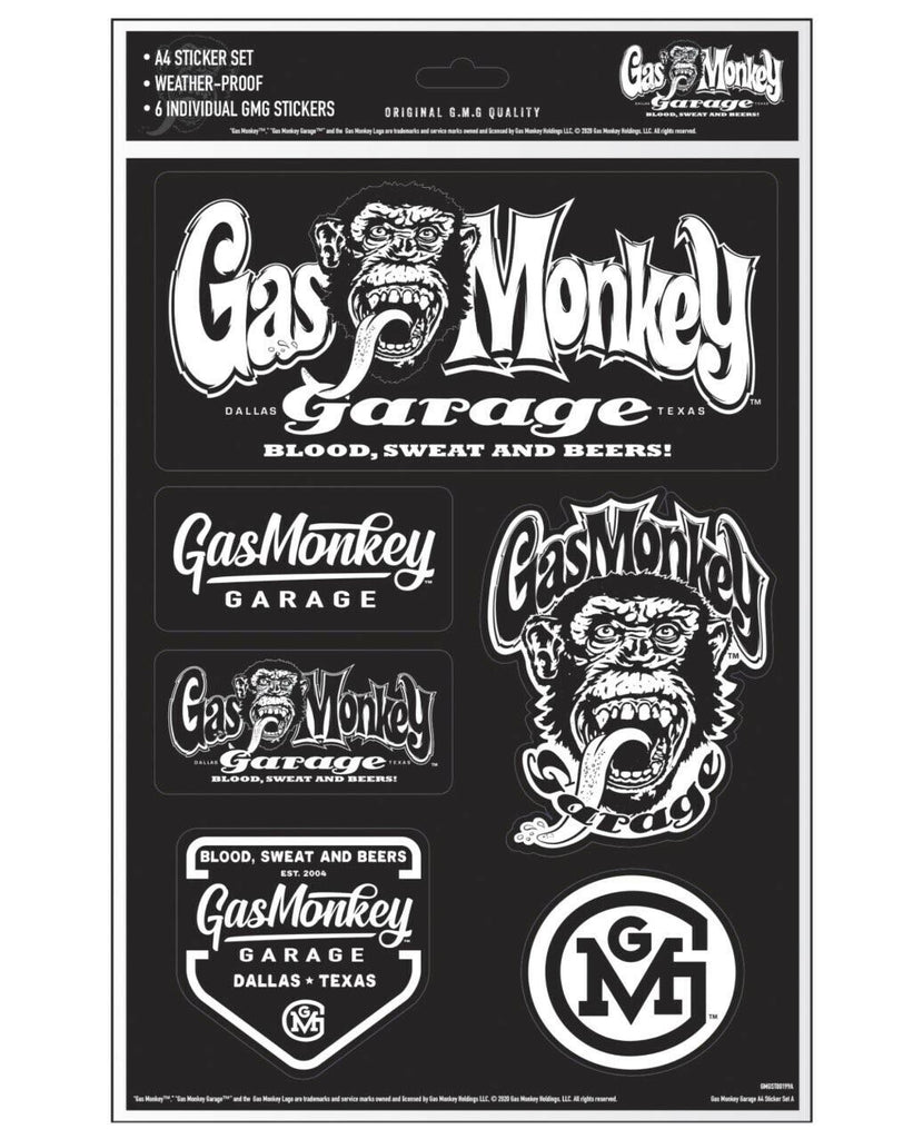 Gas Monkey Garage A4 Set of 6 Stickers