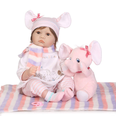 Minidiva Realistic Baby Girl Inge with Plush Elephant Doll - MiniDiva
