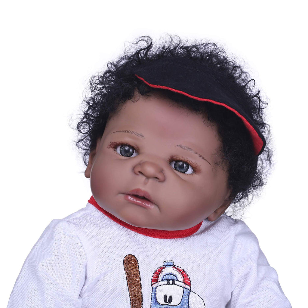 Minidiva Lifelike African American Baby Phil with Bear Doll - MiniDiva