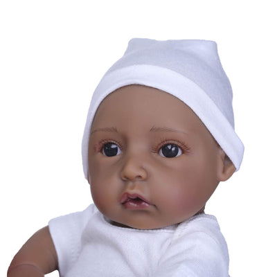 Minidiva Lifelike African-American Baby Doll Nicolle in White Dress - MiniDiva