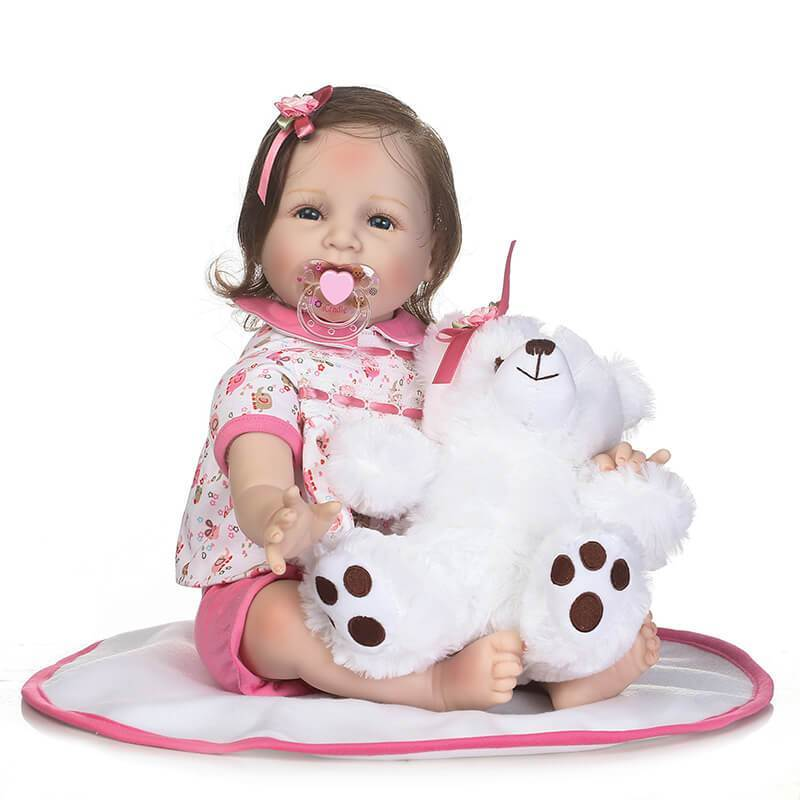 Minidiva Cheerful Reborn Baby Girl May with Bear Doll - MiniDiva