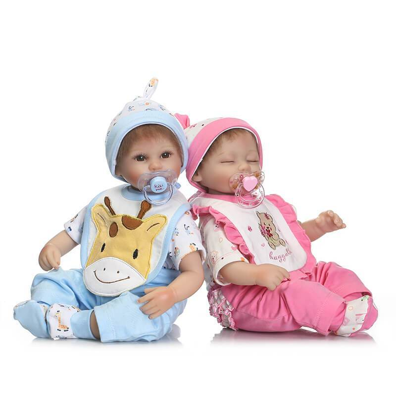 Minidiva Reborn Baby Dolls, 2pcs 16 inch Boy and Girl Twins Full Body Soft Silicone Baby - MiniDiva