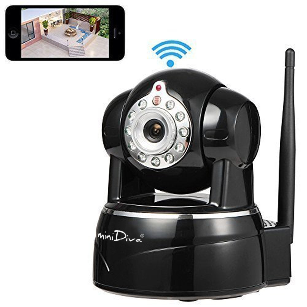Minidiva Indoor 1080P 2 Mega Pixels Wireless WiFi IP Surveillance Camera, Full HD Plug / Playback Home Security Camera with Pan / Tilt, Night Vision, Two Way Audio (Black) - MiniDiva