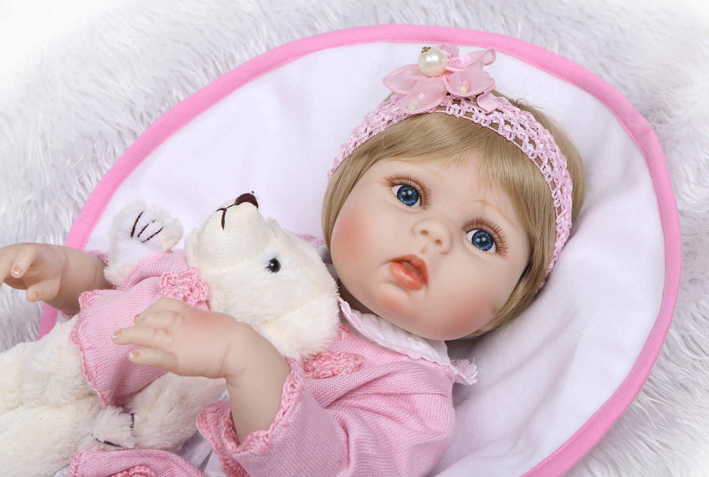 Minidiva Lifelike Sweet Baby Girl Lindy with Plush Bear - MiniDiva