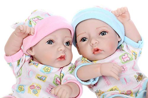 Minidiva Reborn Baby Dolls, 2pcs 10 inch/26cm Boy and Girl Twins Full Body Soft Silicone Newborn Baby Lifelike Reborn Dolls Xmas Gift-RB150 - MiniDiva