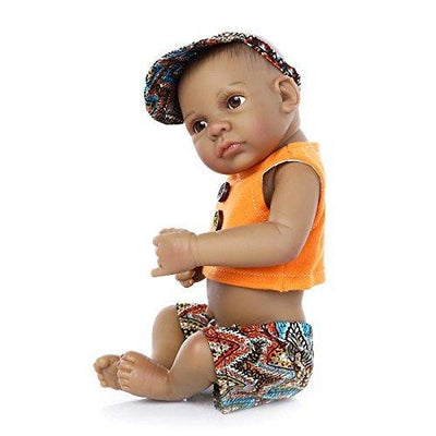 "Minidiva Reborn Baby Doll, Black Alive 100% Handmade Silicone 11"" /27cm Doll For Children - MiniDiva"
