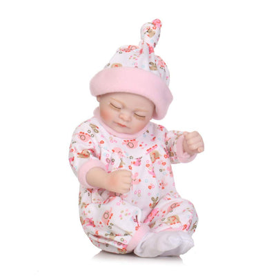 "Reborn Dolls Silicone Baby Full Body 11/"" Newborn Baby Doll Pink SleepingBag Set"