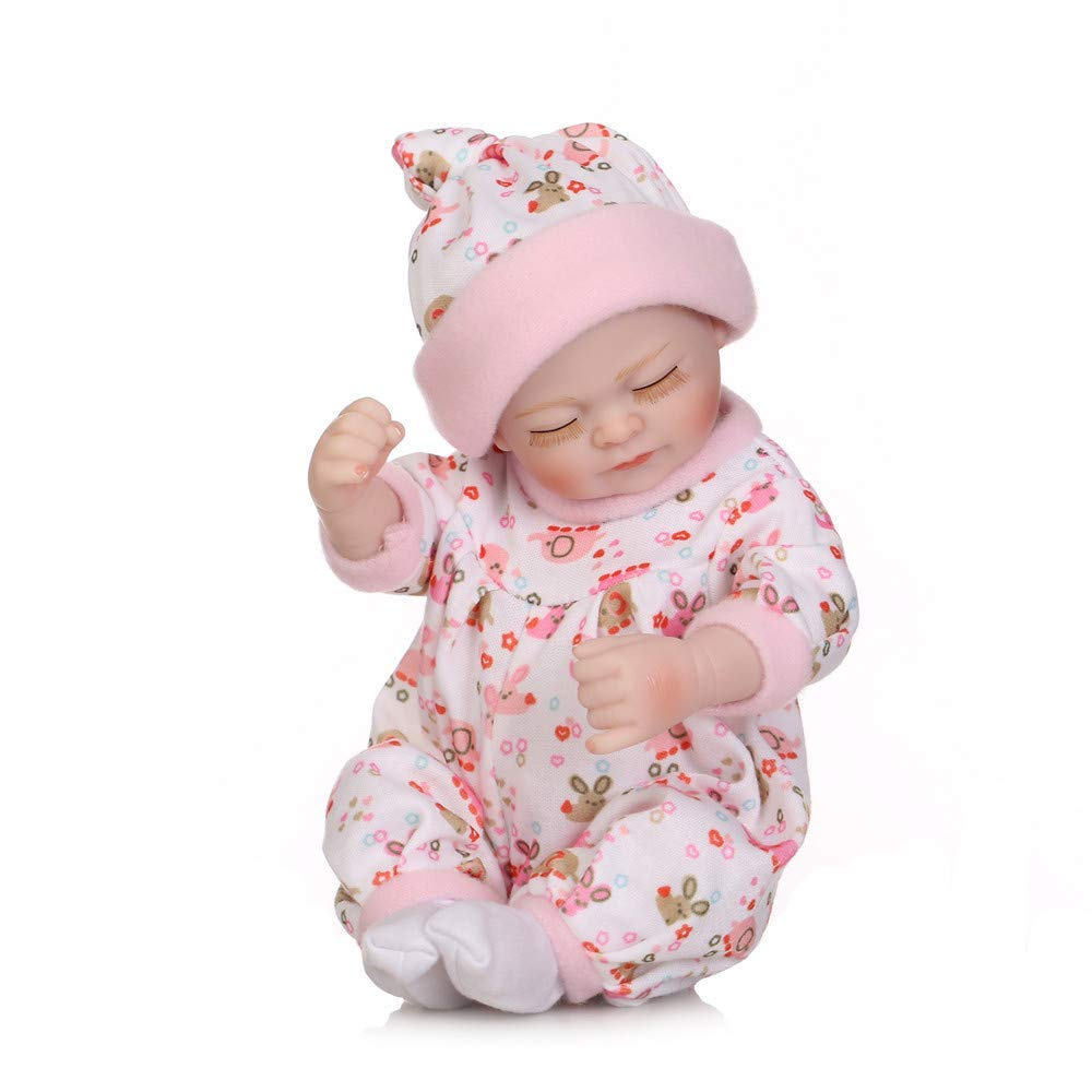 "Minidiva Reborn Baby Doll, 100% Alive Handmade Full Soft Silicone 11"" /27cm Lifelike Newborn Doll Girl with Sleeping Bag for Children-RB138 - MiniDiva"