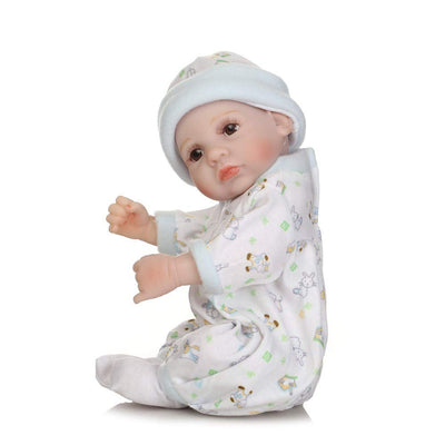 "Minidiva Reborn Baby Doll, 100% Alive Handmade Full Soft Silicone 11"" /27cm Lifelike Newborn Doll Girl with Sleeping Bag for Children-RB137 - MiniDiva"