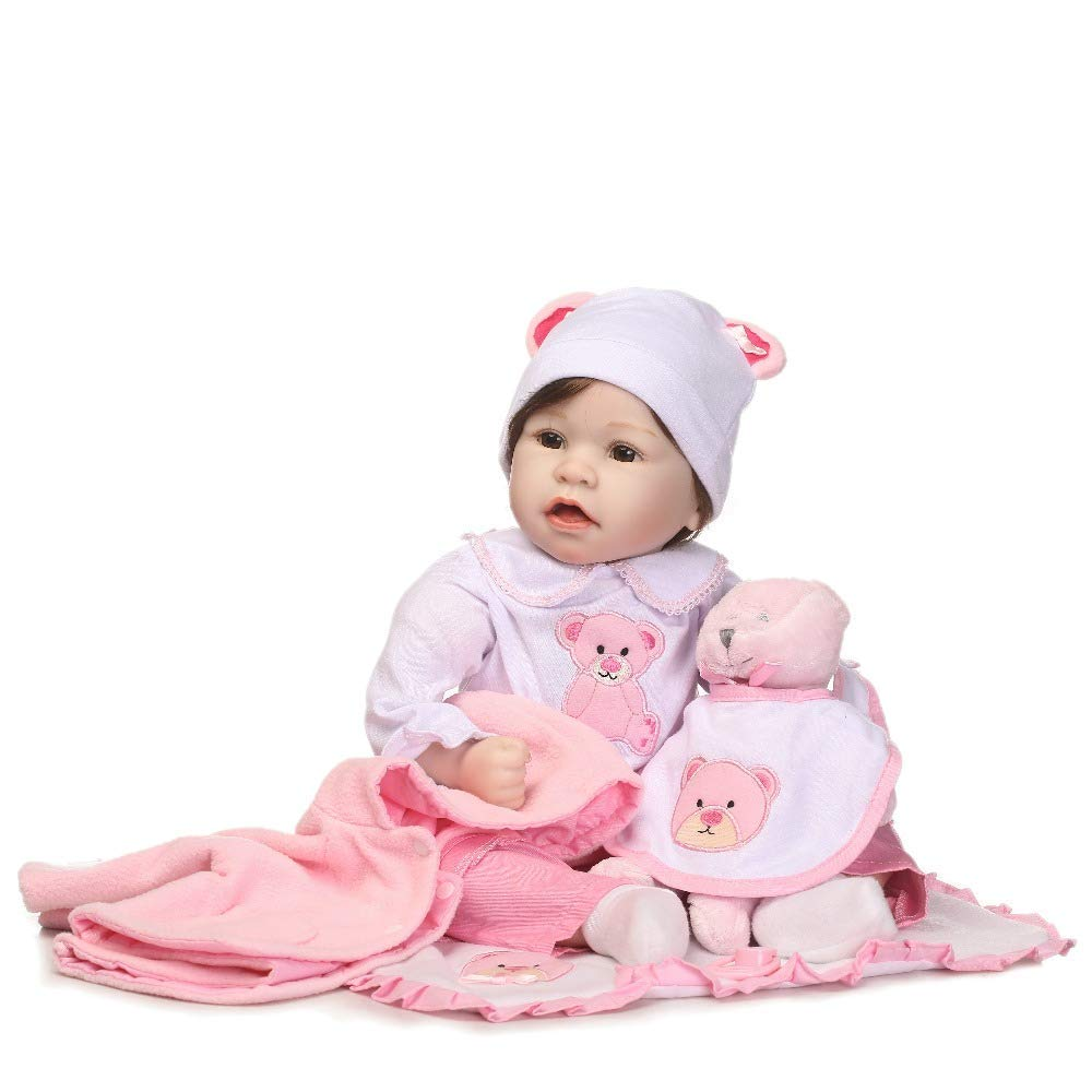 "Minidiva Reborn Baby Doll, 100% Handmade Soft Silicone 22"" /55cm Lifelike Newborn Doll for Children Xmas Gift-RB145 - MiniDiva"