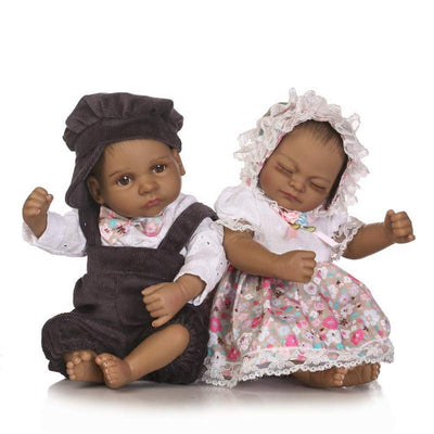 Minidiva Reborn Baby Dolls, 2pcs 10 inch/26cm Black Boy and Girl Twins Full Body Soft Silicone Newborn Baby Lifelike Reborn Dolls Xmas Gift-RB143 - MiniDiva