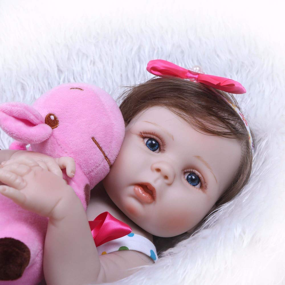 "Minidiva Reborn Baby Doll, 100% Handmade Soft Silicone 22"" /55cm Lifelike Newborn Doll for Children-RB139 - MiniDiva"