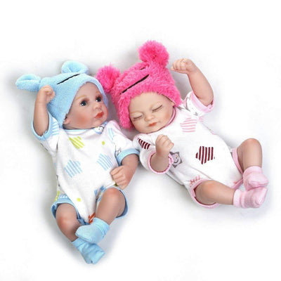 Minidiva Reborn Baby Dolls, 2pcs 26cm Boy and Girl Twins Silicone Dolls For Kid - MiniDiva