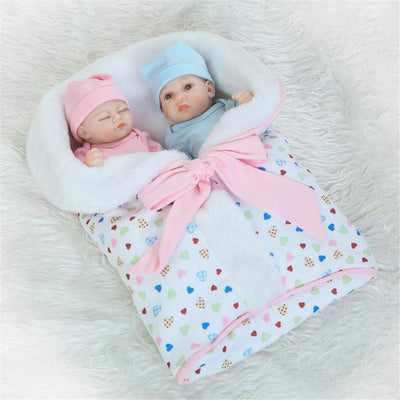 Minidiva Reborn Baby Dolls, 2pcs 10 inch/26cm Boy and Girl Twins Full Body Soft Silicone Newborn Baby Lifelike Reborn Dolls Xmas Gift-RB142 - MiniDiva