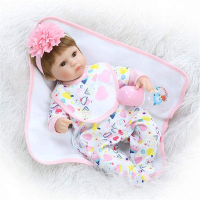 "Minidiva Reborn Baby Doll, 100% Handmade Soft Silicone 15.7"" /40cm Lifelike Newborn Doll Girl for Children-RB140 - MiniDiva"