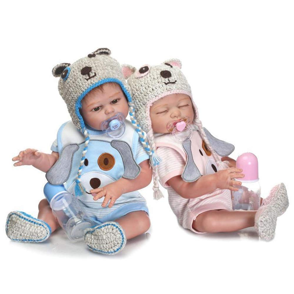 Minidiva Reborn Baby Dolls, 2pcs 20 inch/50cm Boy and Girl Twins Full Body Soft Silicone Newborn Baby Lifelike Reborn Dolls Xmas Gift-RB147 - MiniDiva