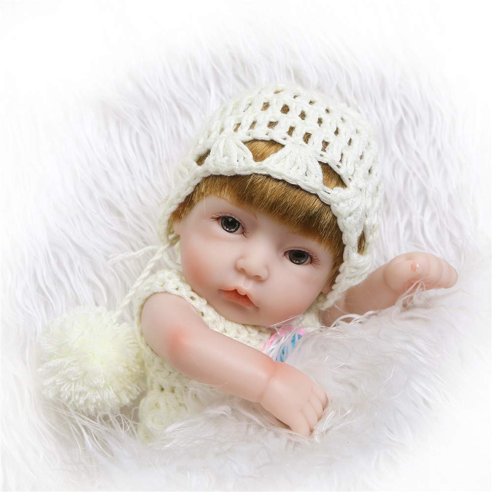 "Minidiva Reborn Baby Doll, 100% Alive Handmade Full Soft Silicone 11"" /27cm Lifelike Newborn Doll Girl for Children-RB136 - MiniDiva"