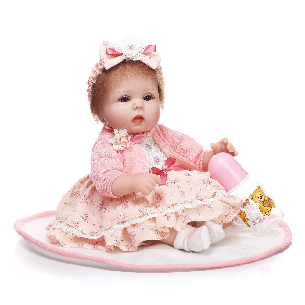 "Minidiva Reborn Baby Doll, 100% Handmade Soft Silicone 15.7"" /40cm Lifelike Newborn Doll Girl for Children-RB064 - MiniDiva"