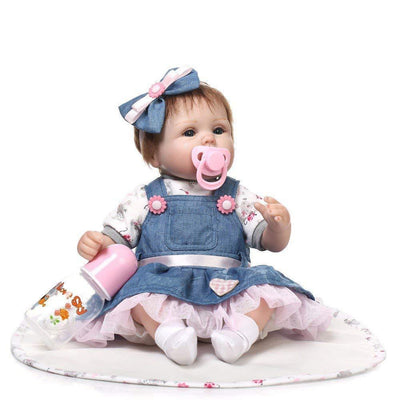 "Reborn Baby Doll,100% Handmade Soft Silicone 22"" /55cm Lifelike Newborn Doll Girl For Children - MiniDiva"