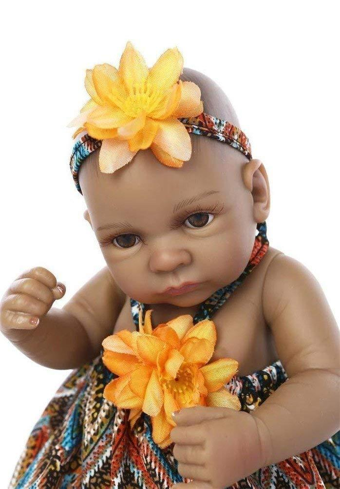 Minidiva Reborn Baby Doll, Black Alive 100% Handmade Silicone 27cm Doll Girl For Children - MiniDiva
