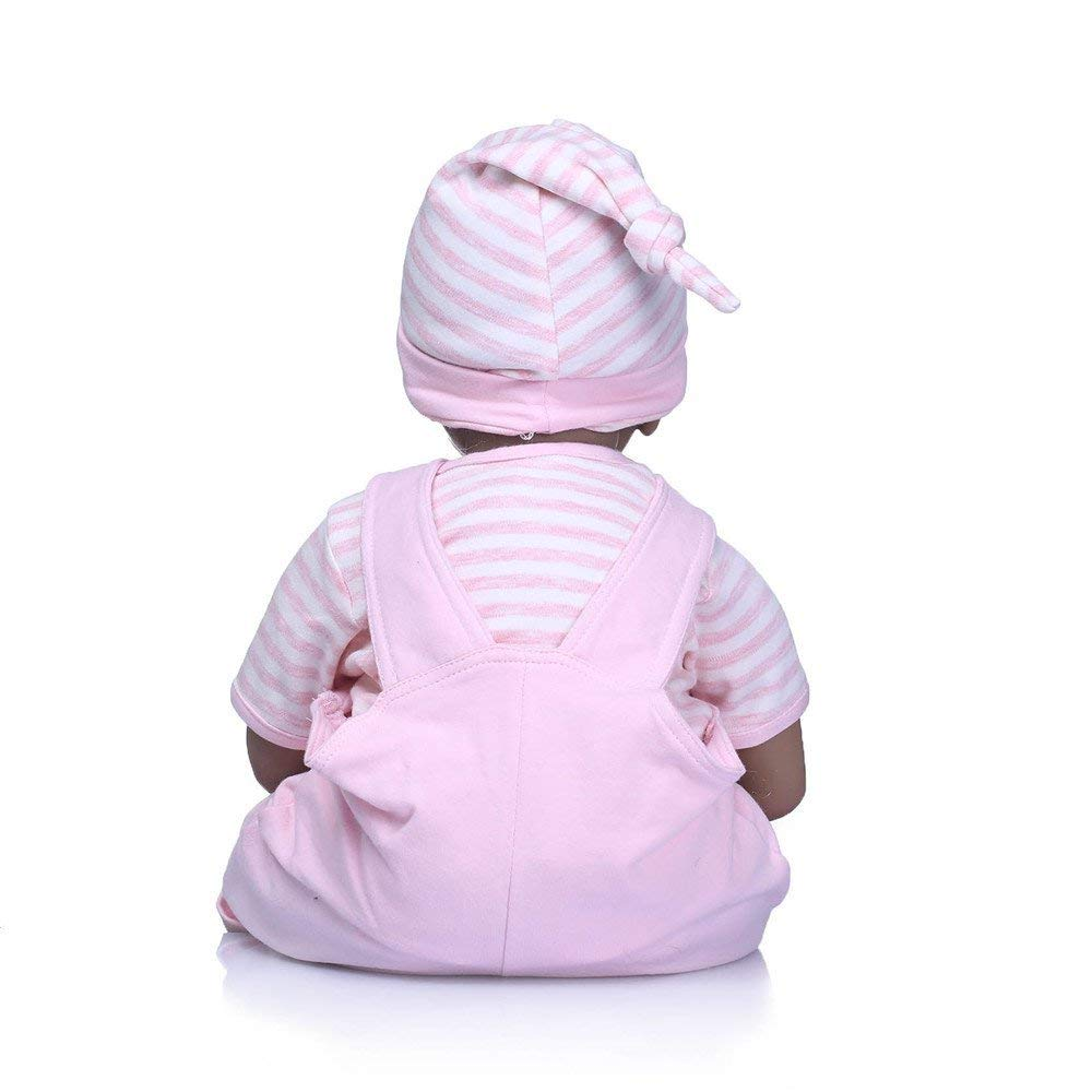 "Minidiva Reborn Baby Doll,100% Handmade Soft Silicone 22"" /55cm Lifelike Newborn Doll Black Boy For Children Pink RB129 - MiniDiva"