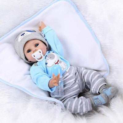 "Minidiva Reborn Baby Doll RB119, 100% Handmade Soft Silicone 22"" /55cm Lifelike Newborn Doll For Children - MiniDiva"