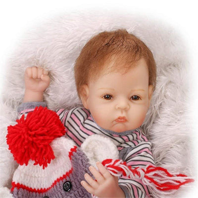 "Minidiva Reborn Baby Doll, 100% Handmade Soft Silicone 22"" /55cm Lifelike Newborn Doll For Children RB130 - MiniDiva"