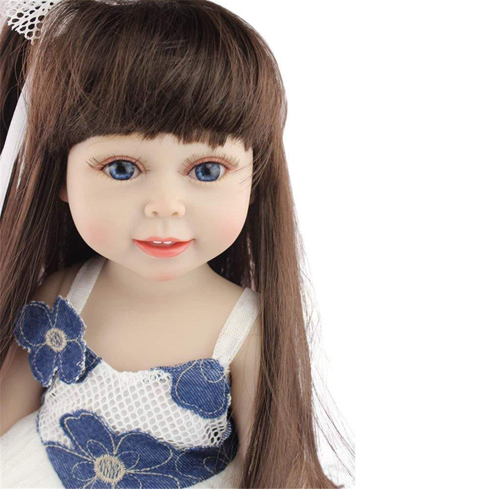 Minidiva Girl Doll, 18 inch Silicone Handmade Doll Long Hair Princess For Kids - MiniDiva