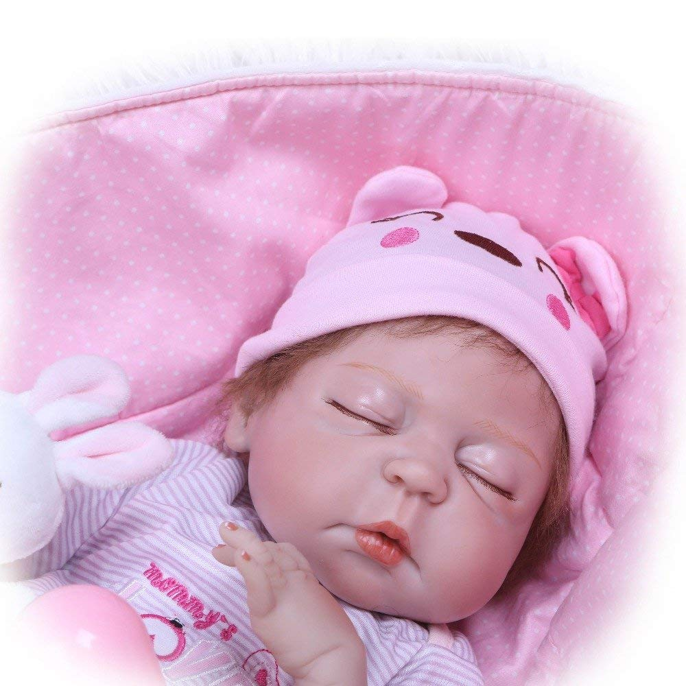 "Minidiva Reborn Baby Doll, 100% Handmade Full Soft Silicone 22"" /55cm Lifelike Newborn Doll with Basket For Children RB126 - MiniDiva"