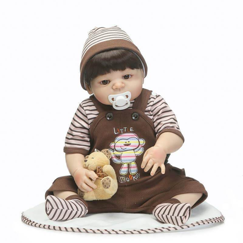 Minidiva Reborn Silicone Doll Keni with Bear Doll - MiniDiva