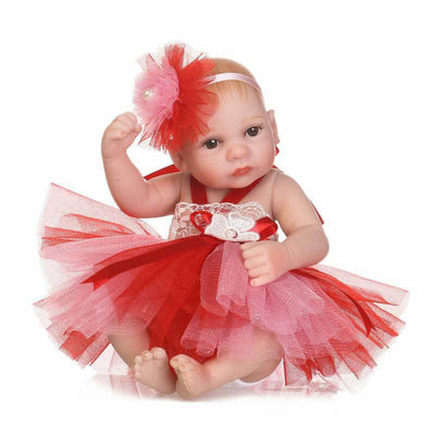 Minidiva Red Dress Realistic Girl Baby Doll - MiniDiva