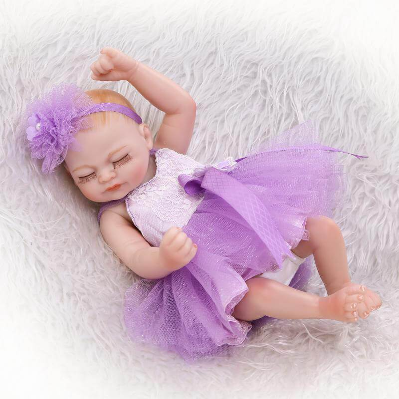 Minidiva Purple Dress and Flower Viola Reborn Baby Doll - MiniDiva