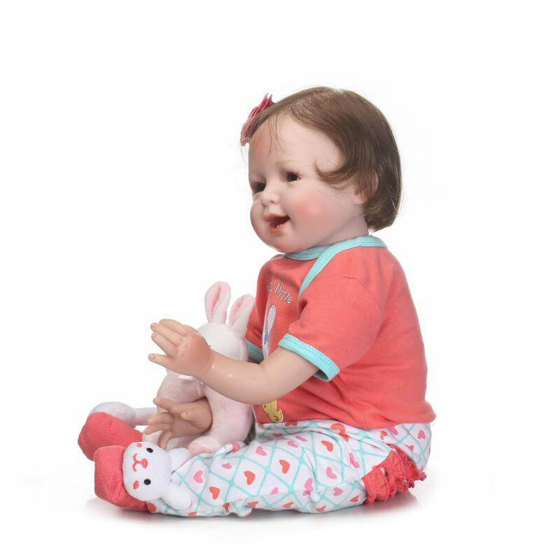 Minidiva Happy Lifelike Baby Girl Nola with Plush Coney Doll - MiniDiva