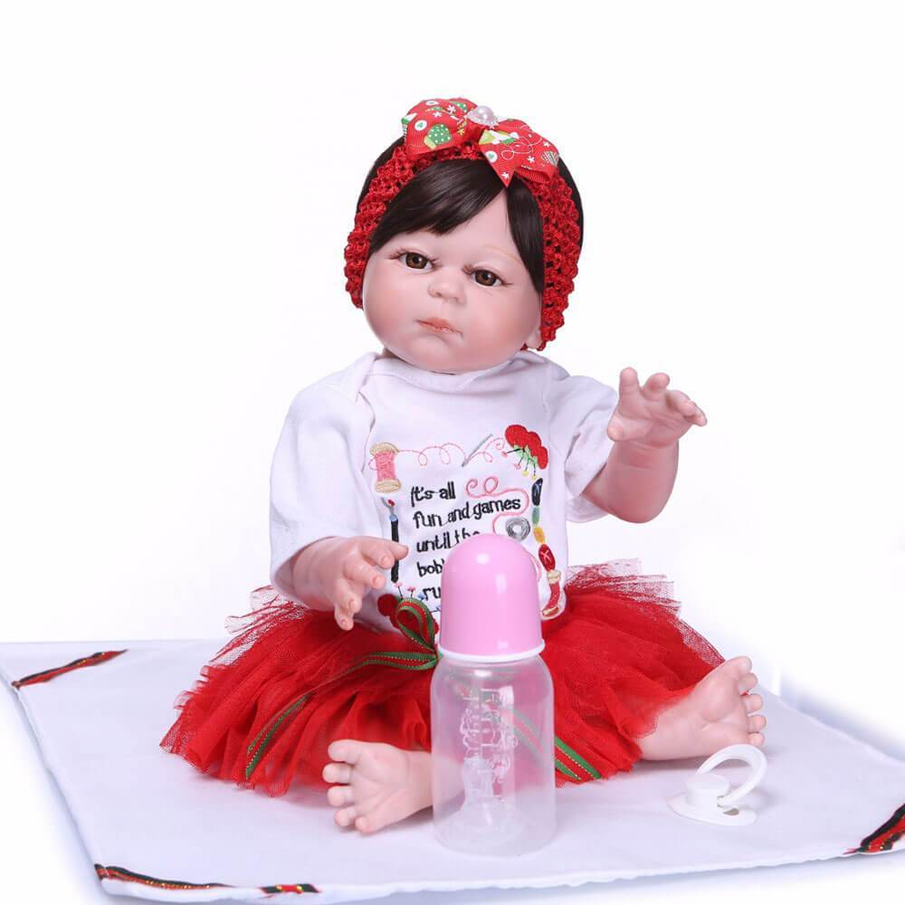 Minidiva Lifelike Baby Girl Doll Nikko Dress Red - MiniDiva