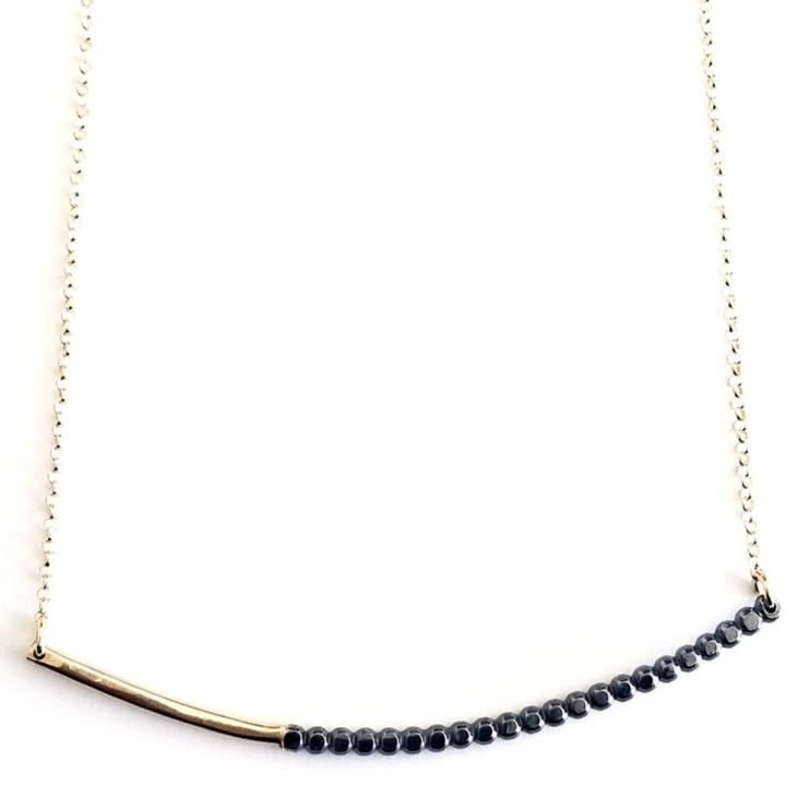 Gold Beaded Arc Bar Necklace by Cindy Liebel