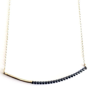 Load image into Gallery viewer, Gold Beaded Arc Bar Necklace by Cindy Liebel