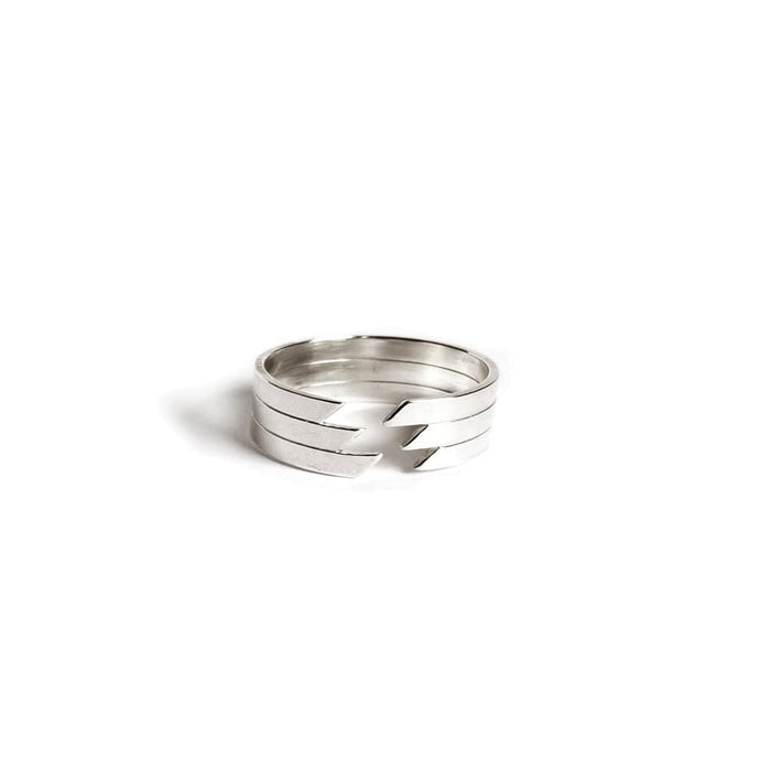 ZigZag Simple Statement Ring Band in Sterling Silver