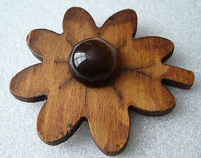 Vintage  old art deco wood & early plastic  flower pin / brooch - Talma's Work&Shop  - 1