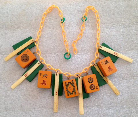 Vintage bakelite, galalith and early plastic gambling necklace - Talma's Work&Shop  - 1