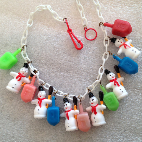 "Early plastic snow-men and  spinning tops ""Hannuka"" necklace - vintage findings - Talma's Work&Shop - 1"