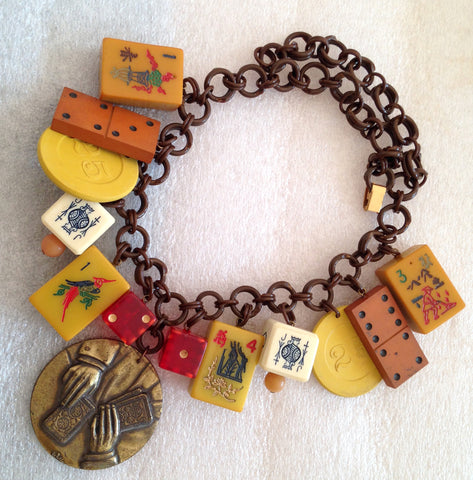 Vintage bakelite, celluloid & early plastic art deco gambling necklace - bakelite era - Talma's Work&Shop  - 1
