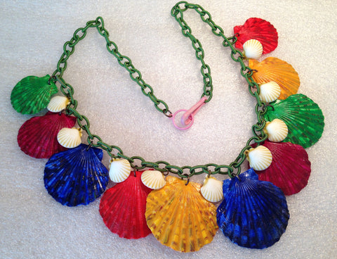 Vintage style hand painted real shells & early plastic necklace, new fabric chain - Talma's Work&Shop  - 1
