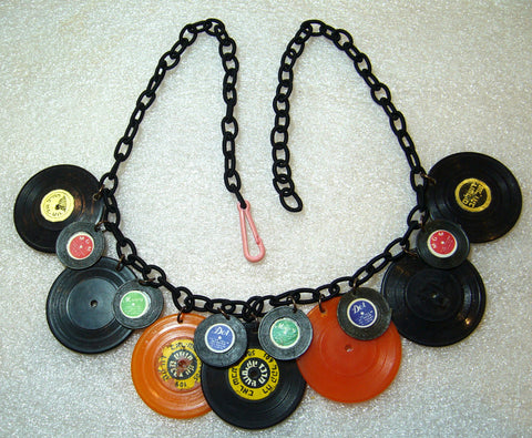 Vintage plastic records upon new fabric chain necklace - Talma's Work&Shop  - 1