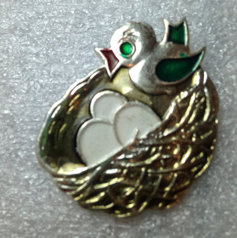 Vintage 1960's enameled aluminum Russian bird in the nest pin brooch - Talma's Work&Shop  - 1